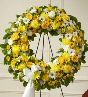 "18"" Yellow Standing Wreath Spray"