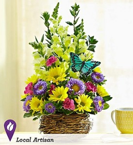 Bright Bird's Nest of Flowers Spring Flowers