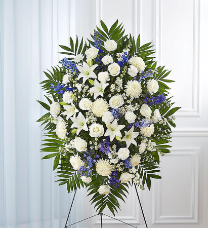 1800Flowers White & Blue Sympathy  Funeral Standing Spray