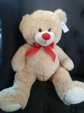 """19"""" Tan bear with red bow"""