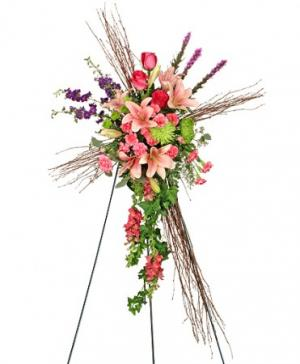 Compassionate Cross Funeral Flowers in Burnet, TX | Floral Designs by Randi