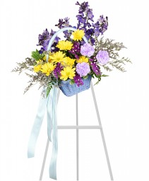 Blessed Blue Spray Funeral Arrangement