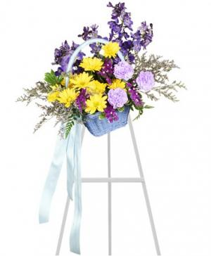 Blessed Blue Spray Funeral Arrangement in Gig Harbor, WA | GIG HARBOR FLORIST TM- FLOWERS BY THE BAY LLC