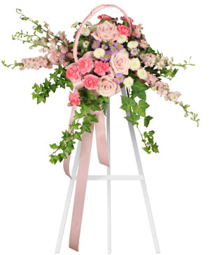 DELICATE PINK SPRAY Funeral Arrangement in Gig Harbor, WA | GIG HARBOR FLORIST TM- FLOWERS BY THE BAY LLC