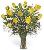 1dz. yellow roses Vased Arrangement