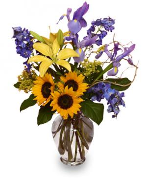 1ST-CLASS FRIENDSHIP Flowers of Yellow & Blue in Cary, NC | GCG FLOWERS & PLANT DESIGN