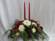 2 Candle Christmas Centerpiece Fresh Oblong Table Arrangement