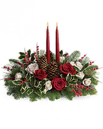 2 candle christmas joy centerpiece