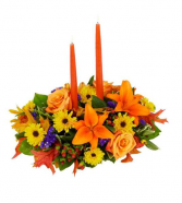 2 candle oblong arrangement fall/Thanksgiving