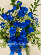 2 dozen blue roses  vase