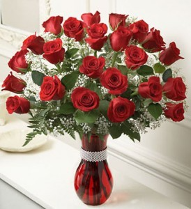 2 DOZEN LONG-STEM ROSES 24 LONG STEM RED ROSES