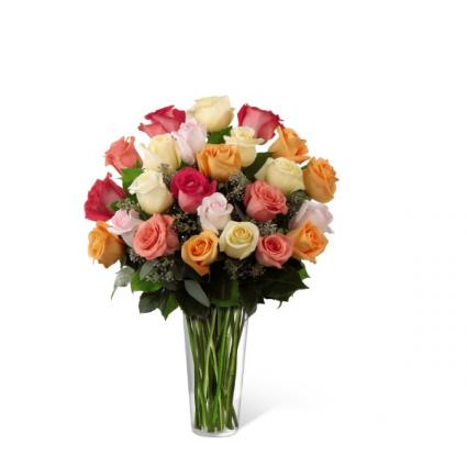 2 dozen mixed colored Roses Rose vase Arrangement