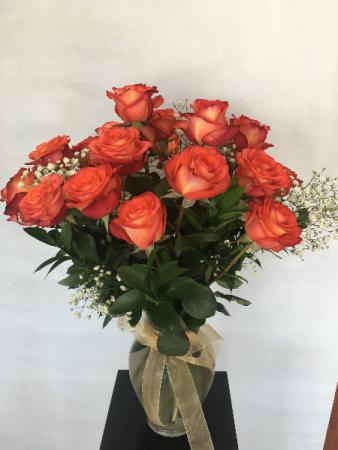 2 Dozen Orange Roses Arrangement
