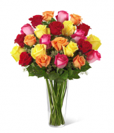 2 Dozen Premium Long stem Roses in a vase. Roses