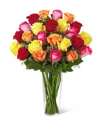 2 Dozen Premium Long stem Roses in a vase. Roses