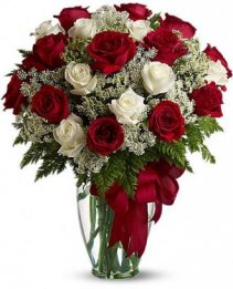 2 dozen red and white roses.