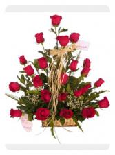 2 dozen red roses  in basket