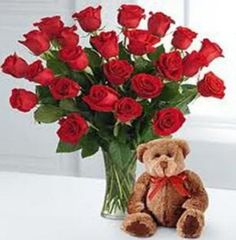 2 DOZEN RED ROSES w/ a $15 medium bear