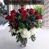 2 Dozen Red Roses With Hydrangea