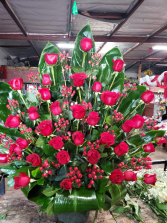 2 dozen rose in basket  basket