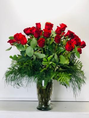 2 Dozen Roses  Vase Arrangement in North Bend, OR | PETAL TO THE METAL FLOWERS