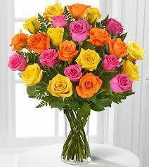 Summer Rose Arrangement 2 Dozen Roses in Vase!