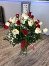 2 Dz. Red and White Roses Vase Arrangement