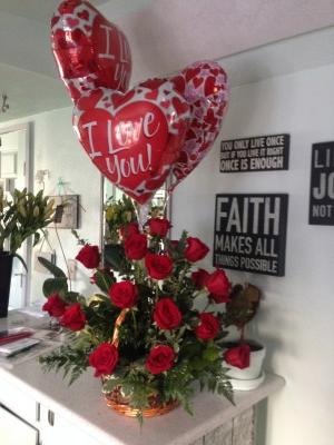 2 dz roses in basket  Valentines
