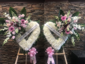 2 PC BOOK END FUNERAL PIECES FOR EACH SIDE OF CASK STANDING FUNERAL PCS ON A 6' STANDS