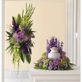 2 PC. LAVENDER AND GREEN MEMORIAL PACKAGE STANDING SPRAY AND URN PC.