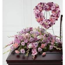 2 PC. LAVENDER MEMORIAL PACKAGE OPEN HEART AND CASKET SPRAY