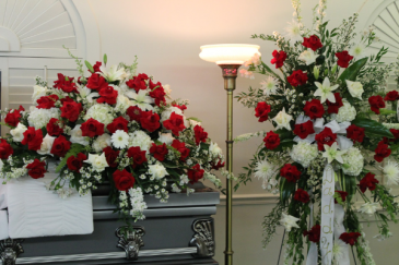 "2 PC. PKG "" LOVING "" PACKAGE CASKET AND STANDING SPRAY"