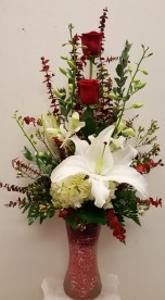 2 Roses With Orchid & Lily in a Vase