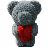"20"" GREY STANDING TEDDY ROSE BEAR W HEART DISPLAY"