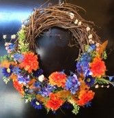 "20"" orange and Blue Grape Vine Wreath Wreath"