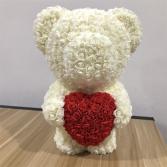 "20"" ROSE TEDDY BEAR CREAM HUGGING RED HEART DISPLA"