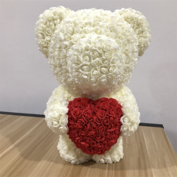 "20"" ROSE TEDDY BEAR CREAM HUGGING RED HEART DISPLA"