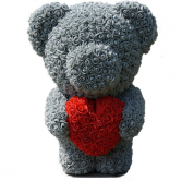 """20"""" Grey Standing Teddy Rose Bear w Heart DISPLAY BOX INCLUDED"""
