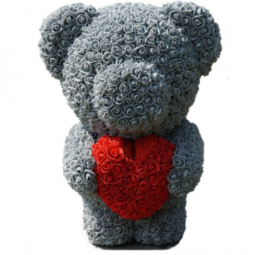 "20"" Grey Standing Teddy Rose Bear w Heart DISPLAY BOX INCLUDED"