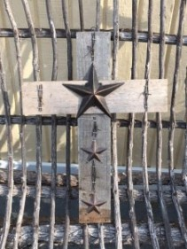 "20"" Wooden Cross with Metal Stars"