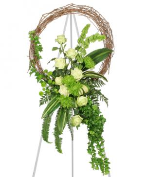 FRESH GREEN INSPIRATIONS Funeral Wreath in Springfield, IL | FLOWERS BY MARY LOU INC