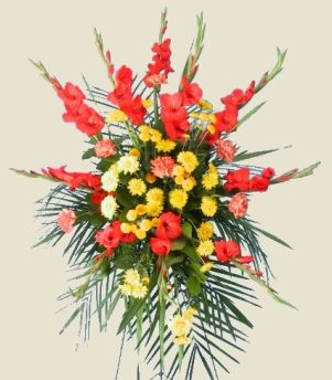 VIBRANT MIXED STANDING SPRAY of Funeral Flowers