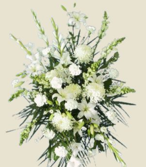 ALL WHITE STANDING SPRAY of Funeral Flowers