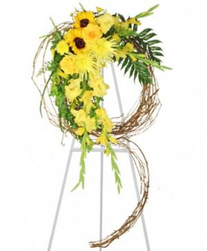 SUNSHINE OF LIFE Sympathy Wreath in Gig Harbor, WA | GIG HARBOR FLORIST TM- FLOWERS BY THE BAY LLC