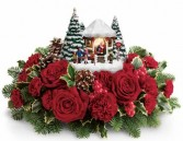 2016 Thomas Kinkade's Visiting Santa Bouquet Keepsake