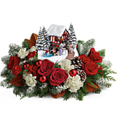 2017 Festive Holiday Horse Carriage And Skaters Floral Arrangement