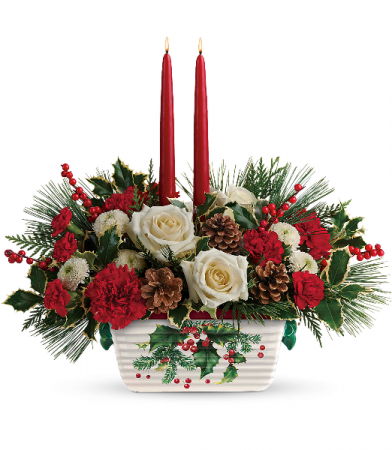Teleflora Christmas 2019.2018 Teleflora S Halls Of Holly Centerpiece T18x100a In