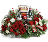 2019 Kinkade Festive Fire Station Bouquet Arrangement