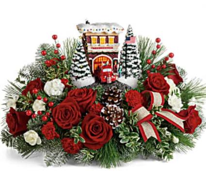 2019 Kinkade Festive Fire Station Bouquet Arrangement
