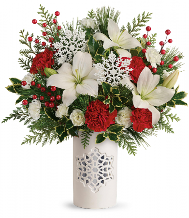 2019 Teleflora S Festive Flurries Bouquet T19x305a In Hesperia Ca Acacia S Country Florist